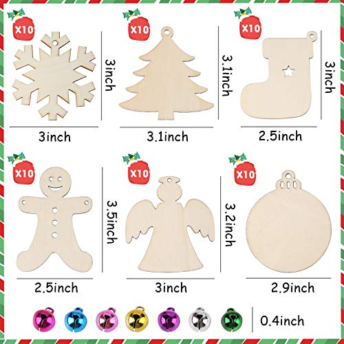 3 otters 133PCS Wooden Christmas Ornaments Unfinished Set, Wooden Slices Ornaments for Christmas Decoration and DIY Craft Making, Christmas Ornament Decorating Kit