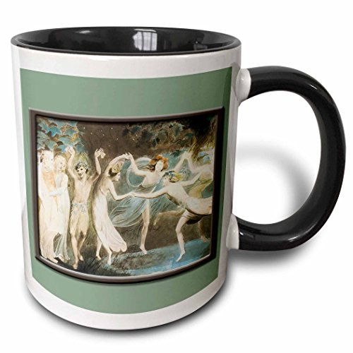 Collection Fairies Dancing (3dRose BLN Fairies Fine Art Collection - Oberon Titania and Puck with Fairies Dancing Willam Blake c. 1785 Fairy Painting - 15oz Two-Tone Black Mug (mug_126217_9))
