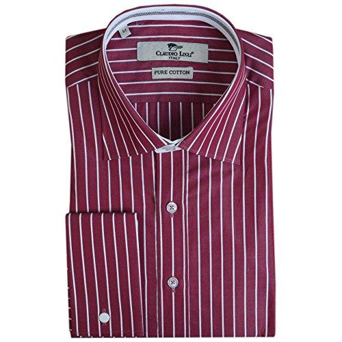 Claudio Lugli Burdeos Pin diseño de rayas camiseta burdeos