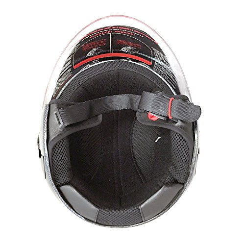 Motorcycle Powersports Open Face Helmet DOT Street Legal - FlipUp Clear Shield - Carbon Fiber (Size: XXL) by MMG (Image #3)