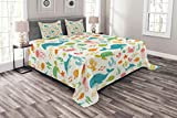 Lunarable Cartoon Bedspread Set King Size, Underwater Animals Aqua Marine Life with Crabs Sea Stars Fish Illustration, Decorative Quilted 3 Piece Coverlet Set with 2 Pillow Shams, Teal Green Yellow