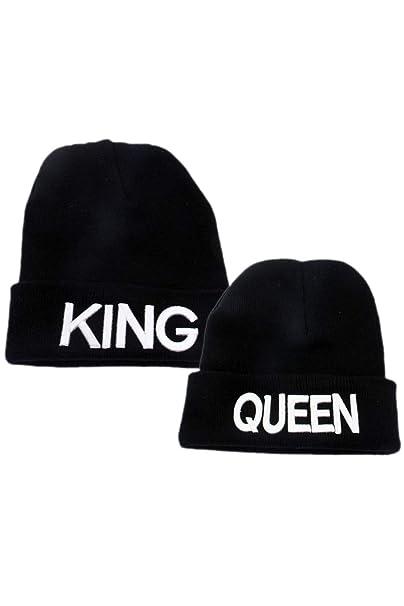 King Queen Pareja Mujeres Hombres Regalo Suéter De Punto Sombrero Diario Mantener Caliente Chapeau Blanco One Size: Amazon.es: Ropa y accesorios