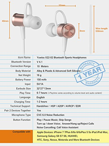 Large Product Image of Wireless Bluetooth Headphones, KLOKOL Sports Running Headphones Lightweight Stereo Noise Cancelling Sweatproof with Mic Earbuds Cordless Earphones in Ear Headsets for iPhone Gym Workout (Rose gold)