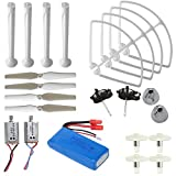 AVAWO® Upgraded Syma X8C X8W X8G Venture Full Spare Parts Kit Crash Pack (Main Blade Propellers & Motor & Propeller Protectors Blades Frame & Landing Skid & Battery & Gear etc. - White