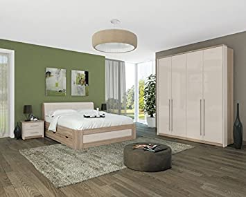 Schlafzimmer Komplett   Set E Lepa, 5 Teilig, Farbe: Eiche Braun /