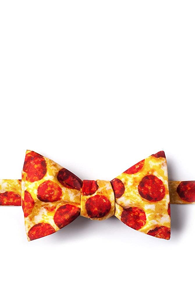 The Pizza Yellow Microfiber Bow Tie WT306217