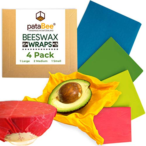 Beeswax Wrap Reusable Food Wrap - Handmade in Switzerland - PataBee Reduce Plastic to Zero Waste - Organic, Sustainable,Eco-Friendly and Biodegradable Storage Wraps (1 Large, 2 Medium, 1 Small)