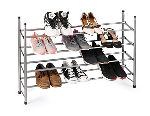WILSHINE 4 Tier Shoe Rack Organizer, Expandable and Stackable, for Closet/Entryway, 20 Pair, Metal and - Rack Expandable Stackable Shoe