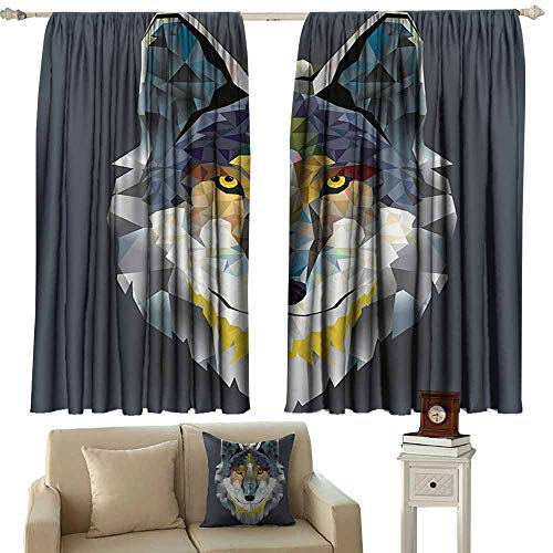 "WinfreyDecor Zoo Exquisite Curtain Colorful Artistic Graphic Design Coyote Wolf Beast Style Print Darkening and Thermal Insulating 72"" Wx45 L Grey Navy Yellow"