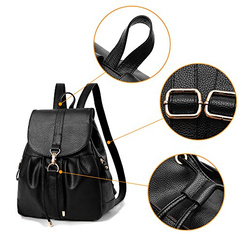(JVP1040-C) señoras bolso de la espalda PU cuero azul marino vino negro de gran capacidad bolsa de viaje de regreso las mujeres de hombro bolsa de moda popular liviano escuela suburbana Azul Marino