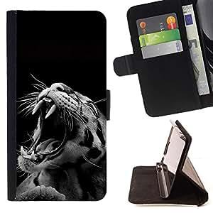 BullDog Case - FOR/Sony Xperia m55w Z3 Compact Mini / - / roar leopard cat big teeth black white photo /- Monedero de cuero de la PU Llevar cubierta de la caja con el ID Credit Card Slots Flip funda de cuer