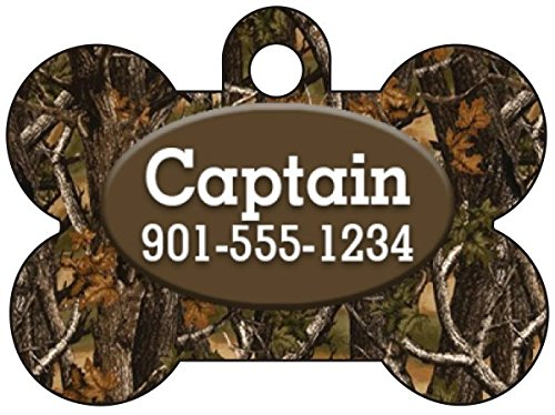 Camo Dog Tag Pet Id Tag Personalized w/ Your Pet's Name & Number (Realtree Outdoor)