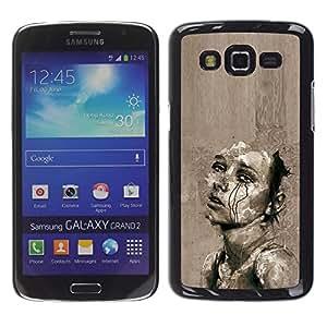 For Samsung Galaxy Grand 2 II / SM-G7102 / SM-G7105 Case , Sad Grey Cry Heartbreak Art Sketch - Diseño Patrón Teléfono Caso Cubierta Case Bumper Duro Protección Case Cover Funda