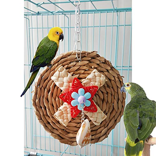 Newstrength Bird Chewing Toys£¬ Corn Weaving Shell Dangle Pet Parrot Bird Cage Hanging Decor Round Chew Toy