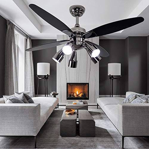 Andersonlight Fan Modern Black Ceiling Fan With 5 Rotatable Light Set, Remote Control, Indoor Quiet Fan Chandelier, 48-inch