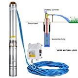 LOVSHARE 110V 1100W Deep Well Pump 1.5HP 4 Inch Submersible Pump 330FT 22GPM Stainless Steel Deep Well Submersible Pump for Extraction of Groundwater with Control Box (1.5HP 110V with Control Box)