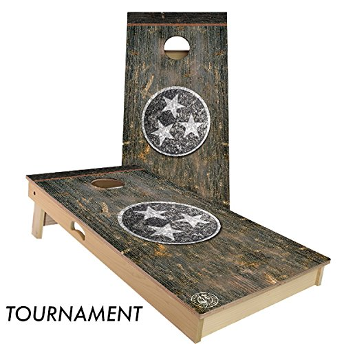 Tennessee State Duck - Rustic State Flag 4 by 2 feet Regulation Size Cornhole Boards Sets; 100% USA MADE | Slick Woody's Cornhole Company (Vintage Tennessee)