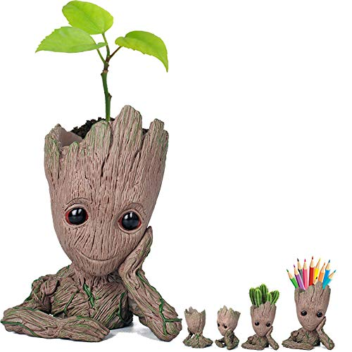 Deal Prime (Prime Sale Day Deals Week Amazon 2018-Creative Groot Planter Pot Guardians of The Galaxy Flowerpot Baby Groot Action Figures Cute Model Toy Pen Pot Pencil Holder Best Gifts For Kids (Groot Cute))