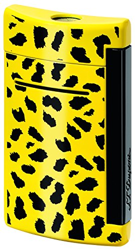 (St Dupont MiniJet Black and Yellow Leopard Pattern Torch Flame Lighter)