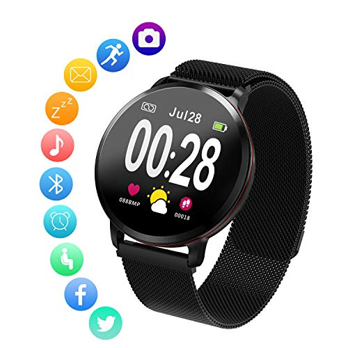Amerzam Smart Watch Smart Band SmartWatch Bracelet for iPhone Android Phones Fitness Tracker Heart Rate Bluetooth Touch Phone Notification SMS Sports Fitness Tracker Zinc Alloy Band