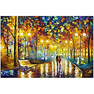 Jigsaw Puzzles 1000 Pieces for Adults, Walking in The Rain Puzzles for Adults 1000 Piece, Wooden Jigsaw Puzzles for Family Friends
