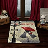 Evolur Home Mid-Night in Paris, Nursery Bedroom/Livingroom/BabyPlaymat/ChildrensRug/PlayRug/KidsRug/Floormat Rug 55'x31.5'