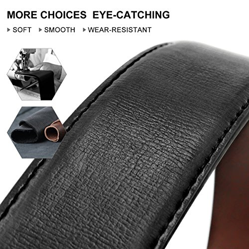 Men's Genuine Leather Dress Belt Reversible with Single Prong Rotated Buckle Gift Box by HIPPIH (Image #3)