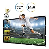 72'' Projector Screen, 72 Inch Diagonal 16:9 Projection HD Anti-Crease Foldable Portable Screen for Home Theater Widescreen Travel PPT Business Presentation Outdoor Indoor
