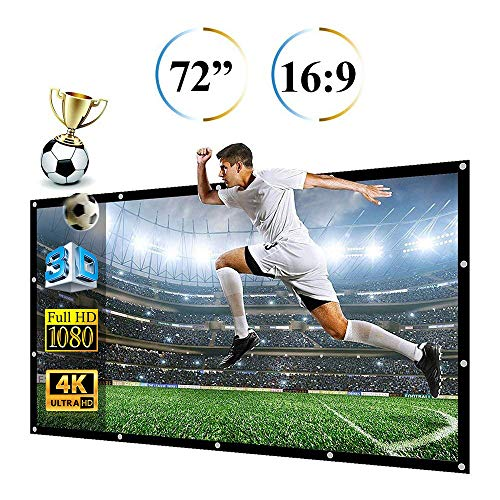 72'' Projector Screen, 72 Inch Diagonal 16:9 Projection HD Anti-Crease Foldable Portable Screen for Home Theater Widescreen Travel PPT Business Presentation Outdoor Indoor by CAIWEI