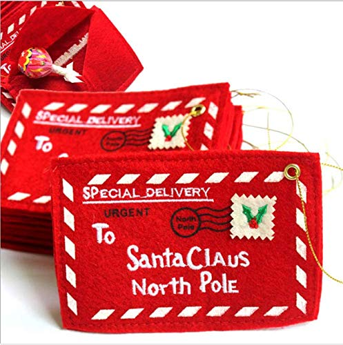 ([5 Packs] Letter Envelope to Santa Claus 5 PC Christmas Candy Gift Bag Tree Ornament Embroidery (Red))