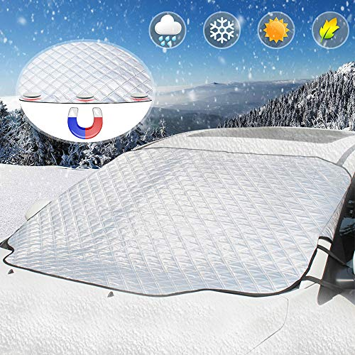 Car Windshield Snow Cover, UBEGOOD Ice Snow Frost Cover for Windscreen, Car Sunshades with Magnetic Edges, Thicker 4 Layers Waterproof Guard Covers, Fits for Most Standard Cars (Best Car Cover For Snow And Ice)