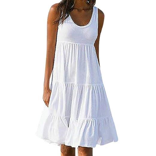 37aa4b2c260 REYO Women Boho Sleeveless Dress Summer Strap Backless White Evening Party Beach  Mini Dress Sundress at Amazon Women's Clothing store: