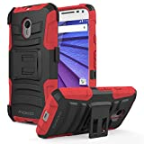 Moto G 3rd Gen Case - MoKo Full Body Rugged Holster Phone Cover with Swivel Belt Clip for Motorola Moto G 3rd Gen 2015 Smartphone, RED (Not for Moto G Previous Generations)