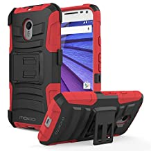 Moto G (3rd Gen) Case, MoKo Shock Absorbing Hard Cover Ultra Protective Heavy Duty Case with Holster Belt Clip + Built-in Kickstand for Moto G (3rd Gen, 2015) - Red
