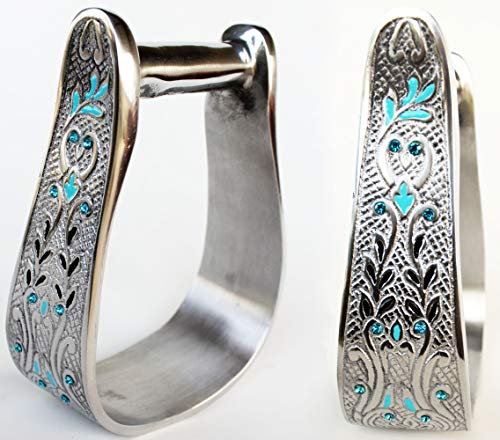 Pro Rider Western Show Horse Aluminum Engraved Stirrups w/Turquoise Crystals Bling 5174