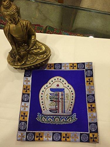 Tibetan buddhist silk brocade blue kalachakra placemat/table cloth/shrine cover/Table cloth (Best Place For Silk Cloth)