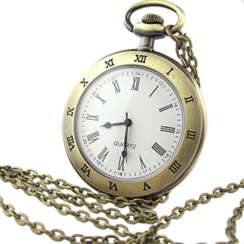 Youyoupifa Men's Stainless Steel Case White Dial Roman Numerals Modern Pocket Watch with Chain - Numeral Roman Watch White Pocket