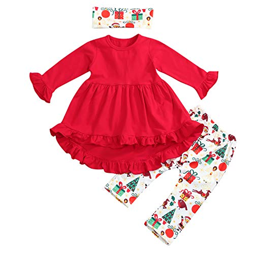Toddler Girl Christmas Clothes Ruffles Irregular Mini Dress