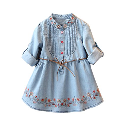 Colorful Childhood Little Girls Denim Dress Toddler Kids Embroidery Ruffles Flower Jean Dresses with Belt 7-8T