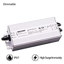 MOONS' IP67 Waterproof LED Driver Dimmable 75W Outdoor Power Supply 90~305VAC 30-75VDC 100-1500mA Output Constant Current Waterproof LED Power Supply (Not Suitable for Constant Voltage LED Strip)
