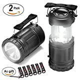 LED Camping Lantern - LED Camping Lantern-2 Pack Ultra Bright Portable Lantern Flashlights Collapsible Camping Equipment for Survival, Emergence, Outdoor Hiking, Hurricanes, Storms, Outages