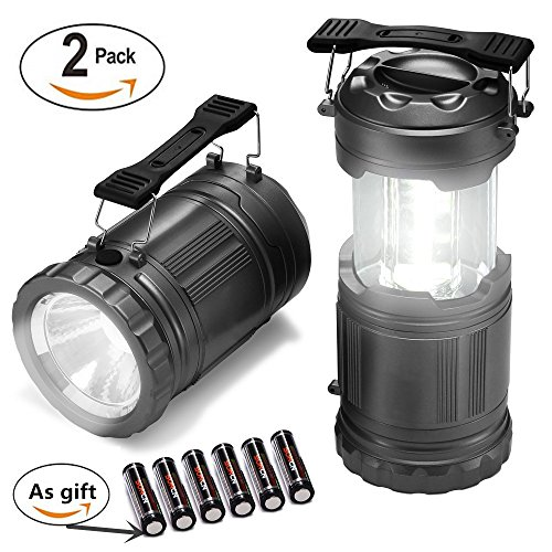 LED Camping Lantern-2 Pack Ultra Bright Portable Lantern Flashlights Collapsible Camping Equipment for Survival, Emergence, Outdoor Hiking, Hurricanes, Storms, Outages