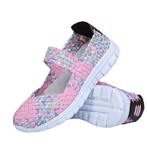 Zapatillas Sports Slip L Shoes Mujer Rosado Run Agua On Casual Ligeras Tejidas 58xU1xqw