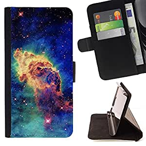 For Sony Xperia Z5 (5.2 Inch) / Xperia Z5 Dual (Not for Z5 Premium 5.5 Inch) Case , Estrellas del espacio del cosmos azul Universo- la tarjeta de Crédito Slots PU Funda de cuero Monedero caso cubierta de piel