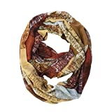 Bowbear Square Pattern Lightweight Infinity Scarf, Brown