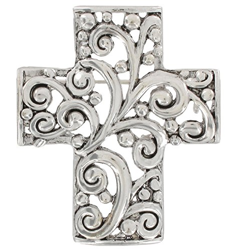 Tone Cross Cufflinks - Silver Tone Openwork Cross Religious Christian Scrollwork Decorative Pin Brooch Scarf ClipsCorsage Jewelry for Lady