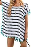 Yonala Women's Classic Striped Chiffon Beachwear Bikini Swimwear Cover Up