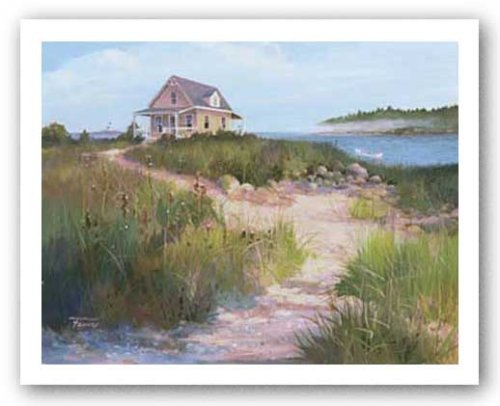 (Island Retreat by Jacqueline Penney 28x22 Art Print Poster Coastal Beach Dunes Cottage Seaside )