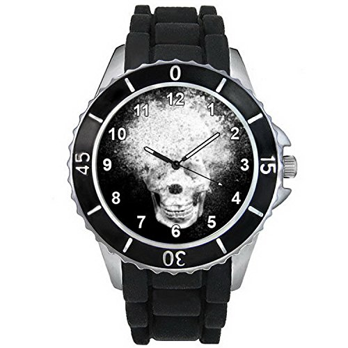 BMSC867 Halloween Melting Skull Mens Ladies Black Jelly Silicone Band Wrist Watch