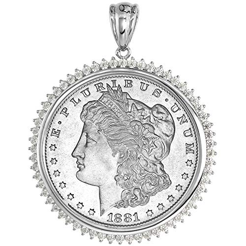 (Sterling Silver Cubic Zirconia Silver Dollar Bezel CZ Halo 38 mm Mexican Olympic Coins Prong Back)